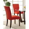 Baldwin Side Chair (Set-2), Red Microfiber & Walnut