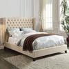 Faye Full Bed, Beige Linen & Espresso