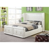 Linus Queen Bed, Pearl White PU