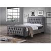 Parisa Queen Bed, Light Gray Fabric