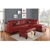 Kiva Sectional Sofa with 2 Pillows (Reversible), Red Bonded Leather Match