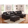 Kiva Sectional Sofa with 2 Pillows (Reversible), Espresso Bonded Leather Match