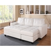 Lyssa Sectional Sofa (Reversible Chaise) with Ottoman, White Bonded Leather Match