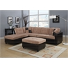 Milano Sectional Sofa with 2 Pillows (Reversible), Camel Champion & Espresso PU