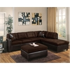 Milano Sectional Sofa with 2 Pillows (Reversible), Chocolate Easy Rider & Espresso PU