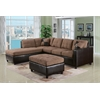 Milano Sectional Sofa with 2 Pillows (Reversible), Saddle Easy Rider & Espresso PU