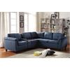 Cleavon Sectional Sofa with Console (Reversible), Blue Linen & Espresso PU