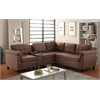 Cleavon Sectional Sofa with Console (Reversible), Brown Linen & Espresso PU