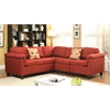 Cleavon Sectional Sofa with 2 Pillows (Reversible), Red Linen
