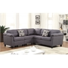 Cleavon Sectional Sofa with 2 Pillows (Reversible), Gray Linen