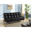Tayte Adjustable Sofa, Black Polished Microfiber