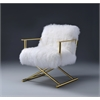 Bagley Accent Chair, Wool and Gold Brass