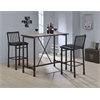Caitlin Bar Chair (Set-2), Black PU & Black