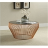 Camry Coffee Table, Smoky Glass & Copper