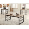 Catalina 3Pc Pack Coffee/End Table Set, Light Oak & Gray