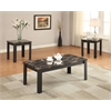 Carly 3Pc Pack Coffee/End Table Set, Faux Marble & Black