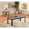 Arabia 2Pc Pack Coffee/End Table Set, Faux Marble & Cherry