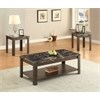 Afton 3Pc Pack Coffee/End Table Set, Faux Marble & Walnut