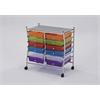 Palash Storage Cart with 12 Drawer, Chrome & Rainbow