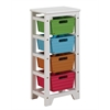 Darvin Storage Rack with 4 Baskets, Green, Blue, Brown & Red