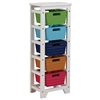 Darvin Storage Rack with 5 Baskets, Green, Blue, Dark Blue, Brown & Red