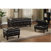 Ibrahim 3Pc Pack Storage Bench & 2 Ottomans, Brown PU & Espresso