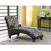 Anna Lounge Chaise with Pillow, Zebra Fabric & Black PU