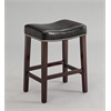 Lewis Counter Height Stool (Set-2), Black PU & Espresso