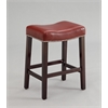 Lewis Counter Height Stool (Set-2), Red PU & Espresso