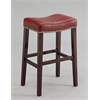 Lewis Bar Stool (Set-2), Red PU & Espresso