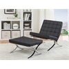Elian Ottoman, Black PU & Chrome