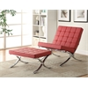 Elian Accent Chair, Red PU & Chrome