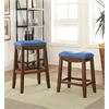 Delta Bar Stool (Set-2), Blue PU & Oak