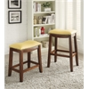 Delta Bar Stool (Set-2), Yellow PU & Oak