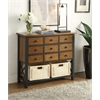 Fidella Console Table (9 Drawer + 2 Baskets), Black & Oak