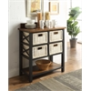Fidella Console Table (4 Baskets), Black & Oak