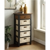 Fidella Storage Rack (1 Drawer + 4 Baskets), Black & Oak