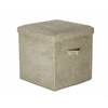 Seat Pad Folding Storage Ottoman. Micro Suede Cover-Beige