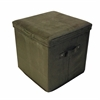 Seat Pad Folding Storage Ottoman. Micro Suede Cover-Sage