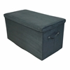 Seat Pad Folding Storage Bench. Micro Suede Cover-Black