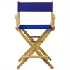 """American Trails Extra-Wide Premium 24""""  Directors Chair Natural Frame W/Royal Blue Color Cover"""