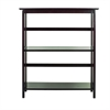 Mission Style 3-Shelf  Bookcase-Espresso