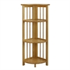 4-Shelf Corner Folding Bookcase-Natural