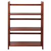 "3-Shelf Folding Stackable Bookcase 27.5"" Wide-Mahogany"