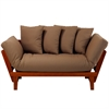 Casual Lounger Sofa Bed Oak Frame With Khaki Fabric