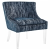 Myra Blue Textured Velvet Chair