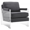 Serena Grey Linen/Lucite Chair