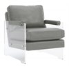 Serena Grey Eco Leather/Lucite Chair