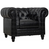 Zahara Black Leather Club Chair