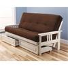 Monterey Frame/Antique White Finish/Suede Chocolate Mattress/Storage Drawers